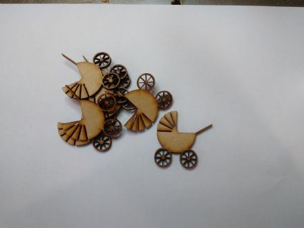 wooden craft BABY PRAM shapes, laser cut 3mm mdf embellishments, decoupage,